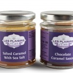 Jars of salted caramel with sea salt and chocolate caramel sauce